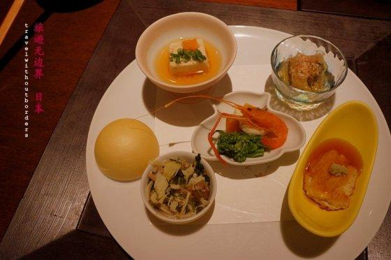 Tofu with crab + Japanese mushroom + Herring spawn on kelp + Yuba + Shrimp with persimmon