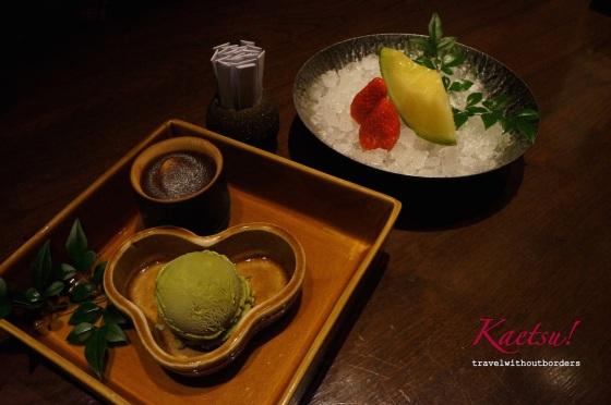 Red bean + chestnut yokan + green tea ice-cream